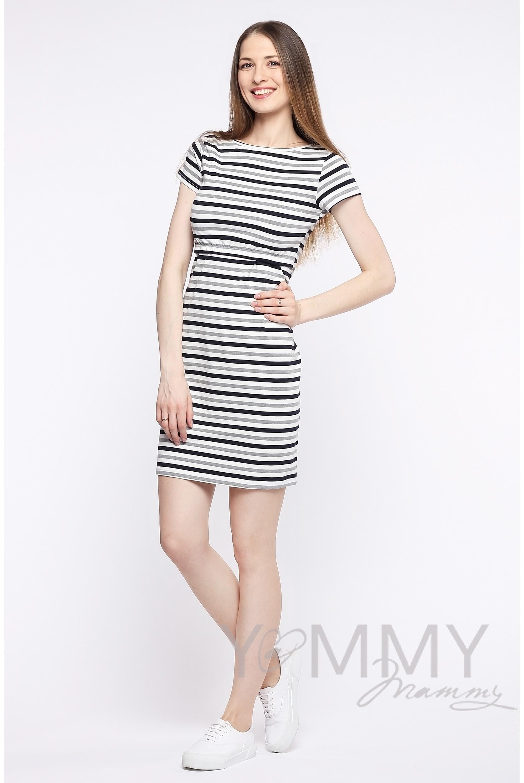 e4d4df0ead03 Платье для кормящих и беременных, белое в полоску серый меланж черный ...