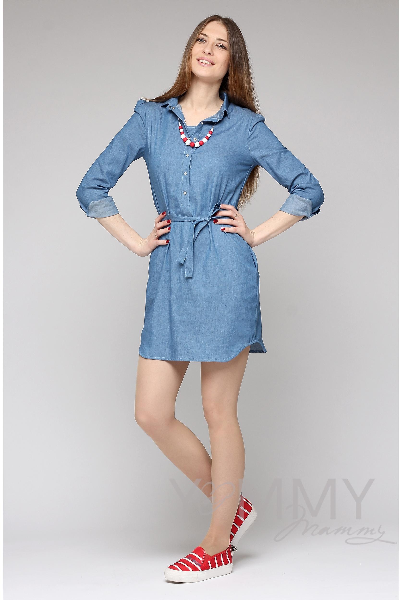 98405daaeab8535 Платье-рубашка для беременных и кормящих, джинсовое СКИДКА - купить ...