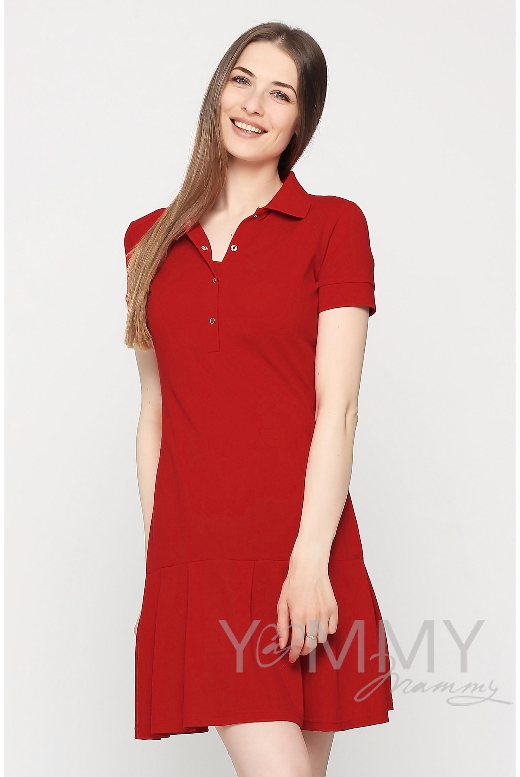 Платье для кормящих и беременных поло с воланом, красное - купить ... 9daf930778c
