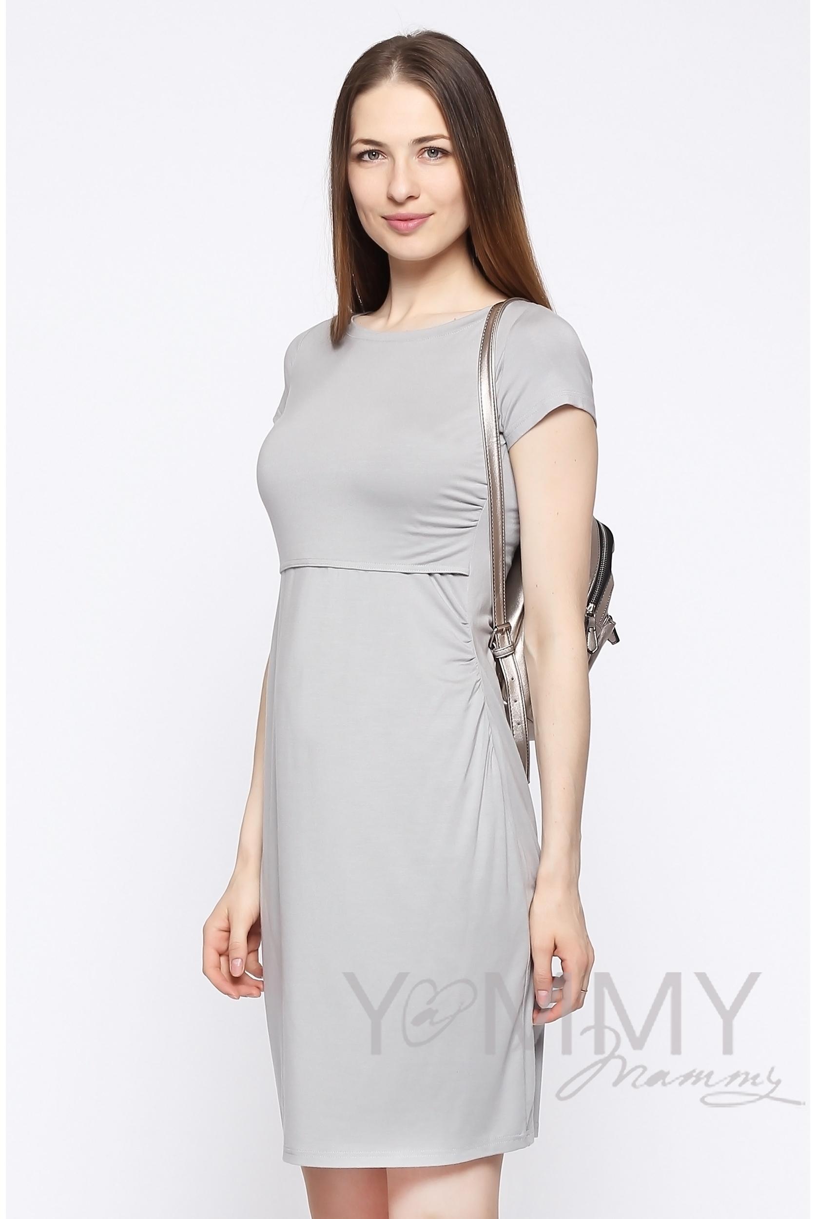 7e705cf0454f2cb Платье для кормящих и беременных из модала с коротким рукавом, серый жемчуг  ...