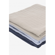 Муслиновые пеленки для новорожденных Jollein средние, navy/light blue/ light grey