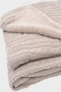 """Вязаный плед с мехом для новорожденных (косичка) Jollein, """"песочный"""", большой"""
