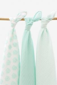 Муслиновые пеленки для новорожденных большие Jollein, Owl mint