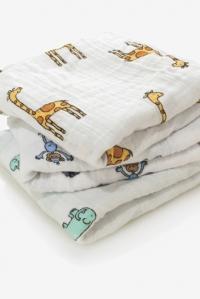 Муслиновые пеленки для новорожденных Aden&Anais средние, набор 3, Jungle Jam