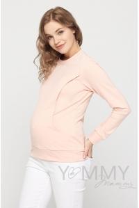 Свитшот для беременных и кормящих, светло-розовый с кружевом