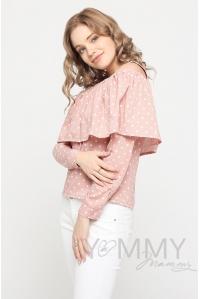 Блуза для беременных и кормящих с воланом, розовая в горох