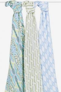 Бамбуковые пеленки для новорожденных Aden&Anais большие, набор 3, Wild One