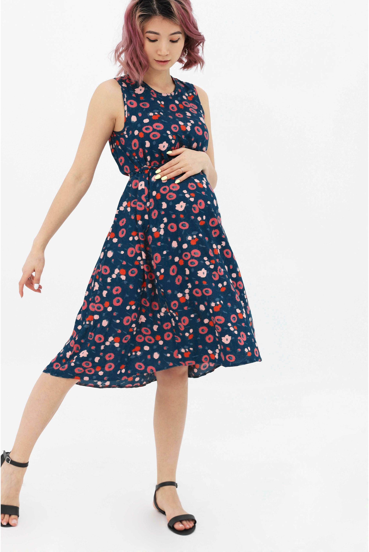 9d141e37b3d219 Платье-сарафан для кормящих и беременных, синий/цветы - купить ...