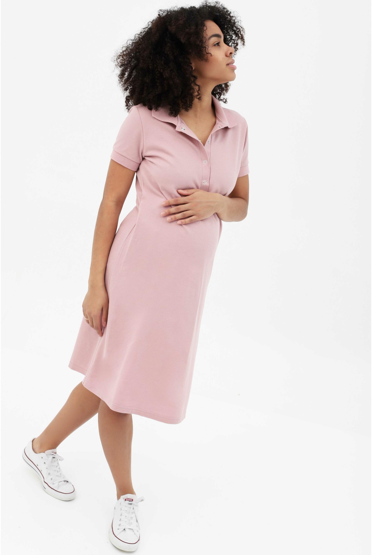 4853734c7d51a89 Платье - поло для беременных и кормящих, пудрово-розовое - купить ...