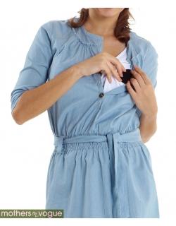 """Платье-туника для кормящих Mothers en Vogue """"Weekend Shirtdress"""", голубой (Chambray)"""