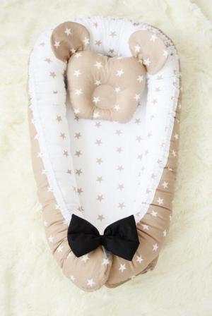 Кокон-гнездышко для новорожденных Babynest Latte Dzhentlmen