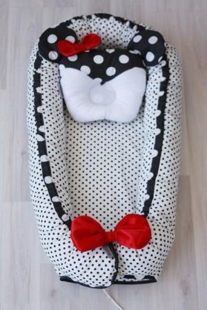 Гнездышко-кокон для новорожденных Babynest Polka Mini Dot Black