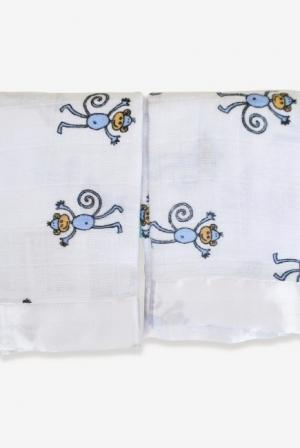Муслиновые пеленки для новорожденных Aden&Anais маленькие, набор 2, Monkey