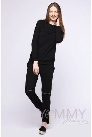 Спортивный костюм для беременных и кормящих, цвет черный