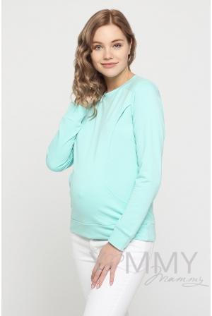 Свитшот для беременных и кормящих, ментол с кружевом