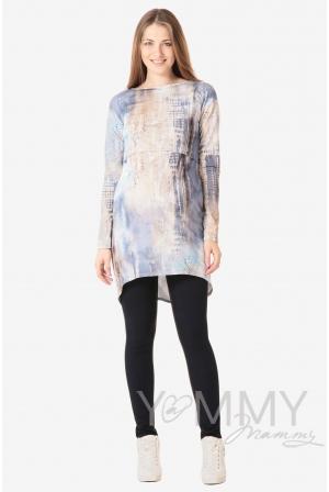 Платье-туника для кормящих и беременных с длинным рукавом, белый/голубой рисунок