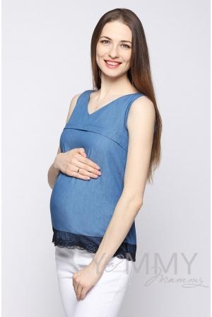 Блуза для кормящих и беременных из денима, с черным кружевом