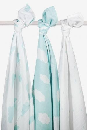 Муслиновые пеленки для новорожденных Jollein большие, Clouds Jade (Нефритовые облака)
