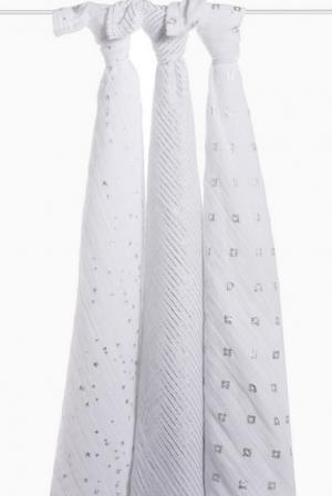 Муслиновые пеленки для новорожденных Aden&Anais мерцающие большие, набор 3, Metallic Silver