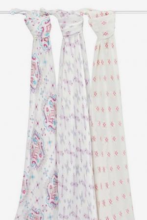 Бамбуковые пеленки для новорожденных Aden&Anais большие, набор 3, Flower Child