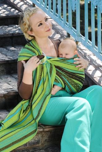 Слинг с кольцами Ellevill Zara Tricolor Green со льном