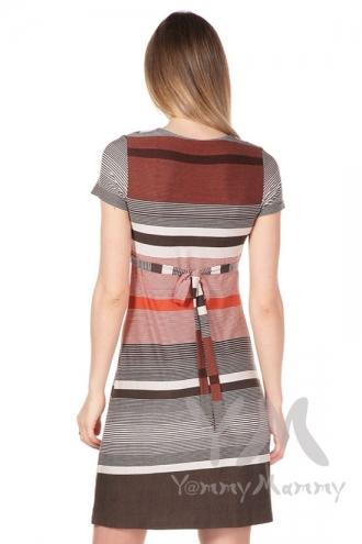 Платье с пояском теракот / коричневая / бежевая полоска 1 для кормящих