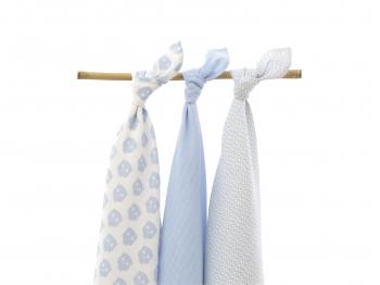 Муслиновые пеленки для новорожденных Jollein большие, Owl blue