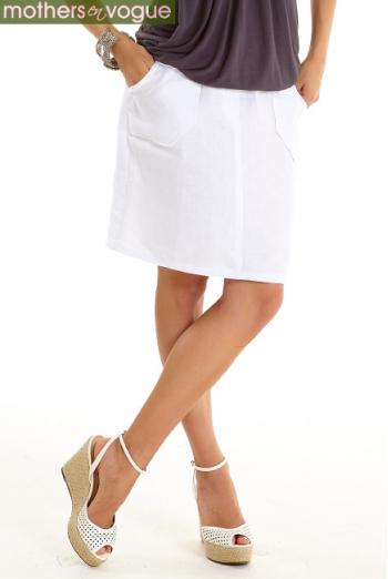 Юбка для беременных и родивших Mothers en Vogue Linen Utility, белый