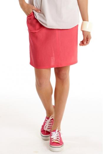Юбка для беременных и родивших Mothers en Vogue Linen Utility, маковый (California Poppy)