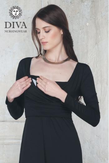 Платье для кормящих и беременных Diva Nursingwear Alba дл.рукав, цвет Nero