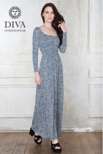 Платье для кормящих и беременных Diva Nursingwear Stella Maxi дл.рукав, принт Domino