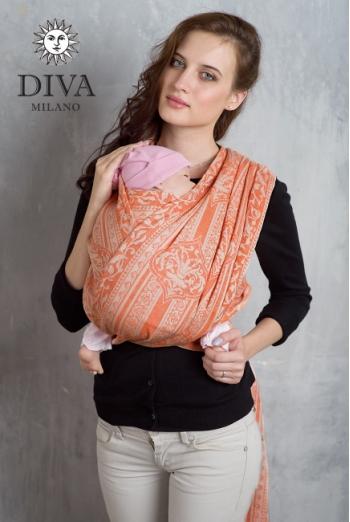 Слинг-шарф Diva Milano cо льном, Flora Arancio