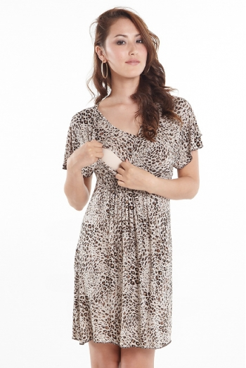 Платье для кормящих Kyoko Kimono, принт Leopard