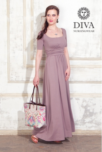 Платье для кормящих и беременных Diva Nursingwear Stella Maxi, Cacao