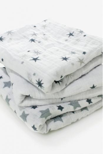 Муслиновые пеленки для новорожденных Aden&Anais средние, набор 3, Twinkle