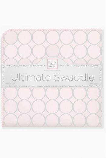 Фланелевая пеленка для новорожденного SwaddleDesigns Пастель круги розовая