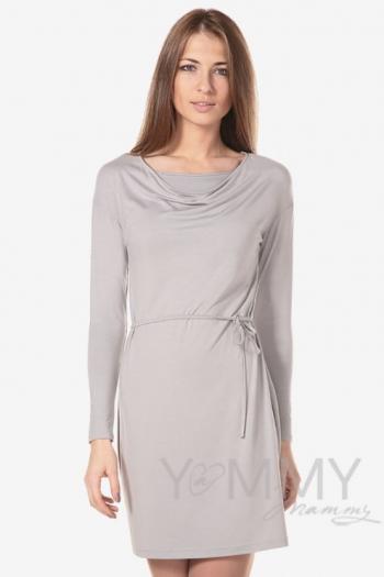 """Платье для кормящих и беременных с горловиной """"качелька"""" из модала, серый жемчуг"""