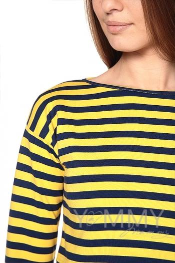 Платье с длинным рукавом желтая / синяя полоска для беременных