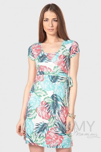 Платье на запах с цветочным принтом для беременных