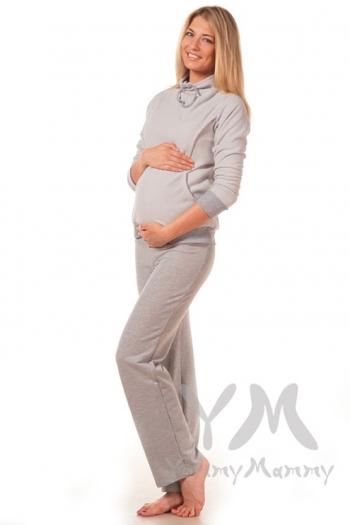 Брюки спортивные с широким поясом для беременных, светло-серый меланж