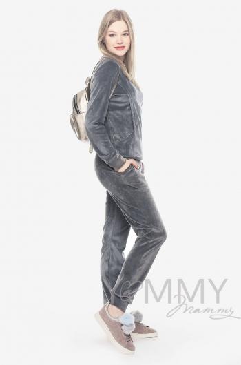 Костюм велюровый для кормящих и беременных хамелеон, серый