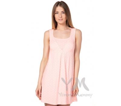 Сорочка со сборкой розовая в белый горошек