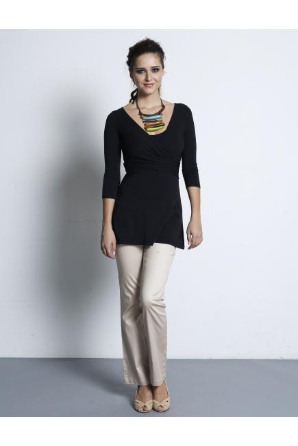 """Топ для кормления Mothers en Vogue """"Wrap Top"""", рукав 3/4, цвет черный"""