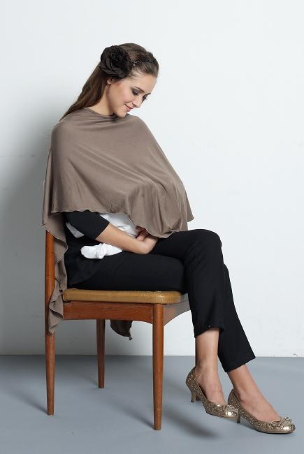 """Пончо для беременных и кормящих Mothers en Vogue """"Jersey Poncho"""", серый"""