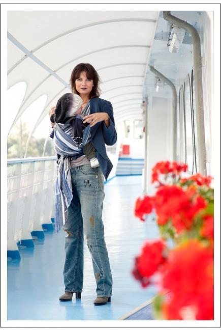 Слинг-шарф Ellevill Zara Tricolor Blue со льном
