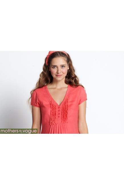 """Платье Mothers en Vogue """"Ruffle Linen"""", цвет коралловый"""