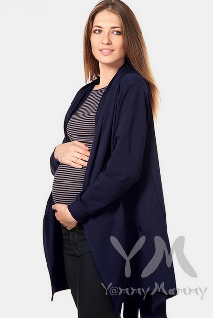 Кардиган с капюшоном для кормящих и беременных, темно-синий