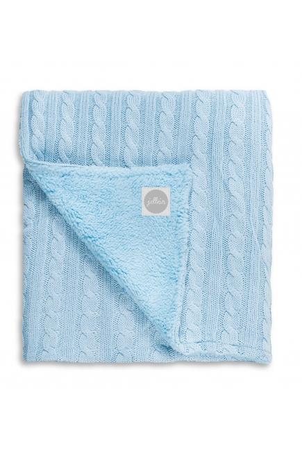 """Вязаный плед с мехом для новорожденных (косичка) Jollein, """"светло-голубой"""" большой"""