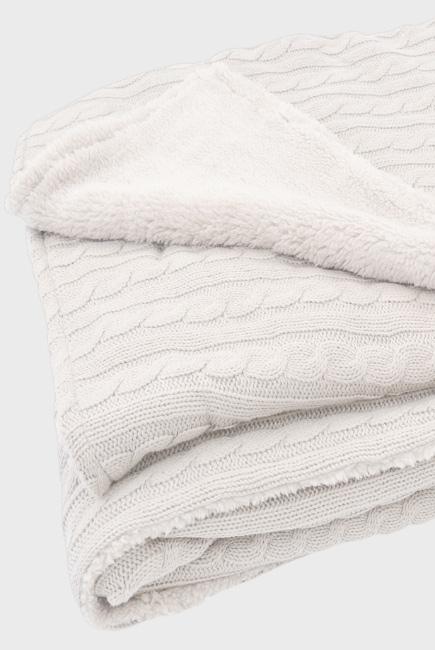 """вязаный плед с мехом для новорожденных (косичка), цвет """"белый"""""""