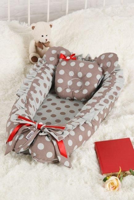 Кокон-гнездышко для новорожденных Babynest Polka Dot Duble